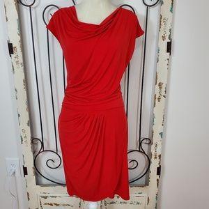 Michael Kors red cowl neck dress medium